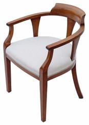 Antique quality Edwardian inlaid mahogany corner arm chair bedroom tub