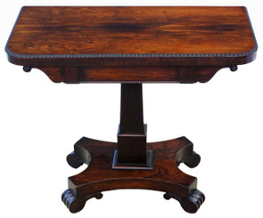 Antique fine quality Regency rosewood folding card tea console table