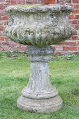 Large antique style cast stone planter plant pot urn