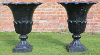 Large antique pair of cast iron planters urns plant pots tulip