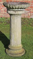 Large weathered patinated antique style cast stone bird bath