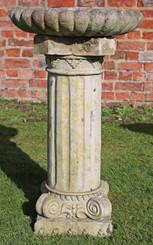 Large weathered patinated antique style bird bath cast stone