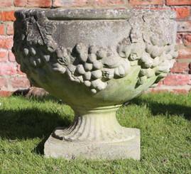 Large antique vintage cast stone planter plant pot urn