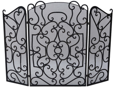 Antique Gothic wrought iron steel fire place screen spark guard