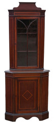 Antique quality Edwardian mahogany glazed corner cupboard display cabinet