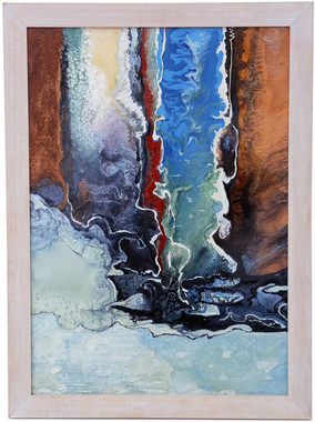 Framed original glaze / enamel painting 'Waterway' by Lia Melia