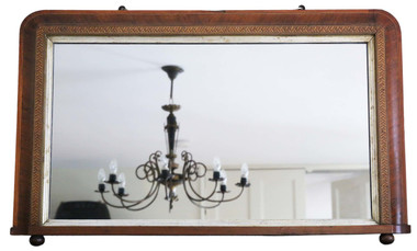 Antique Victorian parquetry wall mirror overmantle