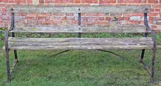 Heavy antique wrought iron and hardwood 6' garden or park bench