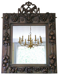 Antique large rare Victorian carved walnut wall mirror overmantle