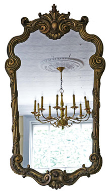 Antique large rare decorative 19th Century Victorian gilt wall mirror