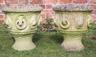 Antique pair of cast stone urns planters plant pots