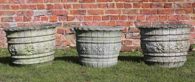Antique set of 3 cast stone urns planters plant pots