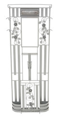Antique large wrought iron hall, coat, hat, stick, umbrella stand