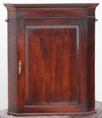 Antique Georgian 18C mahogany walnut corner wall cupboard cabinet
