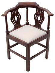 Antique Georgian C1810 mahogany office elbow desk tub chair corner carver