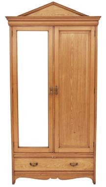 Antique Large Tall Gothic Victorian 19C ash wardrobe oak armoire