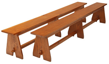 Antique large pair of oak benches seats just over 8' long