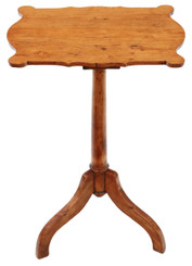 Antique 19th Century shaped satinwood and pine wine table side