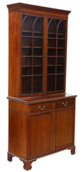 Antique quality late Victorian C1900 mahogany glazed bookcase on cupboard