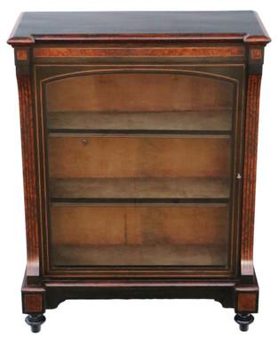 Antique fine quality amboyna and ebonised pier display cabinet C1880