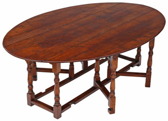 """Antique large quality oak Georgian style oval wake dining table 7'6"""" x 5'"""