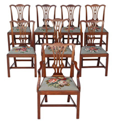 Antique set of 8 C1900 mahogany Georgian Chippendale revival dining chairs