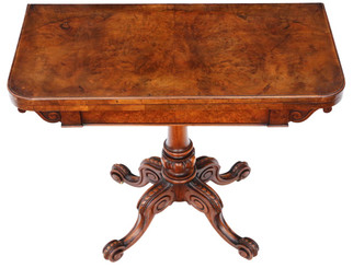 Antique quality Victorian C1860 burr walnut folding card or tea table