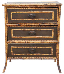 Antique bamboo chest of drawers C1910-20
