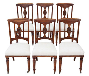 Antique quality set of 6 oak Art Nouveau dining chairs