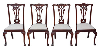 Antique set of 4 Victorian C1900 mahogany Chippendale revival dining chairs