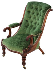 Antique quality William IV C1830-40 mahogany library armchair