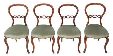 Antique quality set of 4 Victorian C1870 walnut balloon back dining chairs