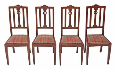 Antique quality set of 4 Art Nouveau oak dining chairs