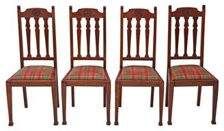 Antique quality set of 4 oak dining chairs Art Nouveau
