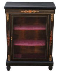 Antique ebonised pier display cabinet marquetry inlays