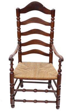 Antique Georgian 18th Century fruitwood high back elbow desk chair carver