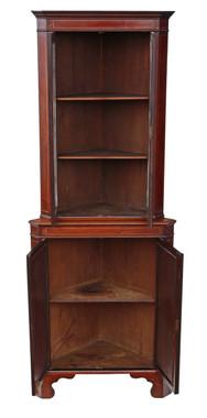 Antique Edwardian C1900-1910 inlaid mahogany corner display cabinet