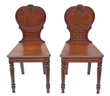 Antique pair of quality Victorian oak hall chairs side bedroom C1900