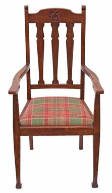 Antique quality oak desk arm elbow chair Art Nouveau