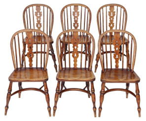 Antique set of 6 Victorian C1840 ash & elm Windsor kitchen dining chairs