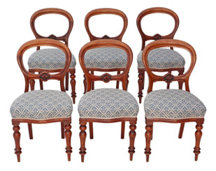 Antique quality set of 6 Victorian C1870 mahogany balloon back dining chairs