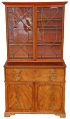Antique Georgian C1800 mahogany secretaire bookcase