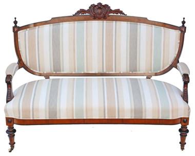 Antique quality Victorian C1880 burr walnut Aesthetic sofa