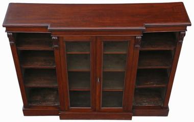 Antique late Victorian C1890 oak breakfront part glazed bookcase