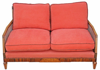 Antique quality Art Deco C1920-30 burr walnut & Rosewood Bergere sofa
