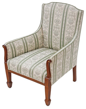 Antique quality small Victorian C1900 inlaid mahogany armchair