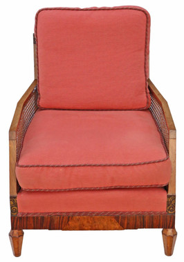 Antique quality Art Deco C1920-30 burr walnut & Rosewood Bergere armchair
