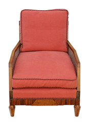 Antique quality Art Deco C1920-30 burr rosewood & walnut Bergere armchair