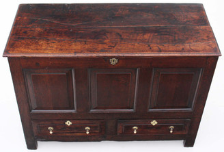 Antique large 18C Georgian oak coffer mule chest trunk