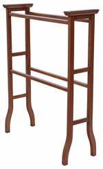 Antique quality Edwardian Art Nouveau inlaid mahogany towel rail stand
